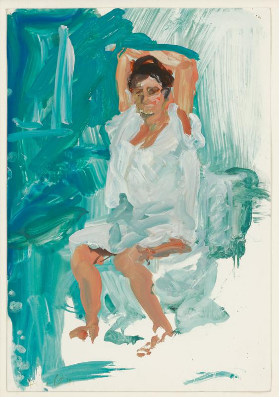 slightly abstract image; seated brunette woman wearing a loose white garment, with her arms up and crossed over her head; green ground