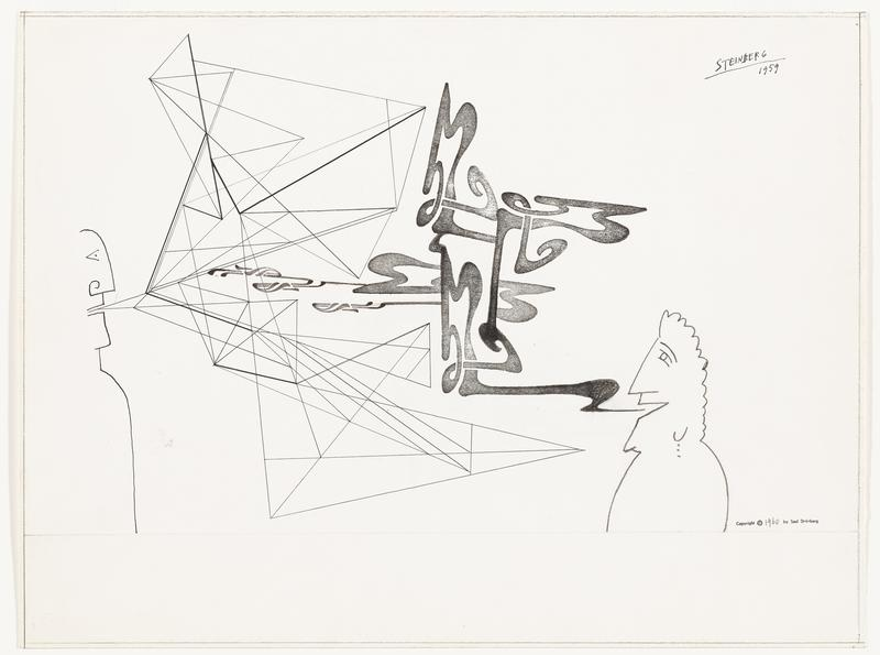recto: abstracted, cartoonish, line drawing head and torso at left and head and torso with curly hair and earring (three vertical dots) at right; angular form with triangles emitting from mouth of figure at left; looping black sinuous forms emitting from mouth of figure at right; verso: overlapping looping black sinuous forms