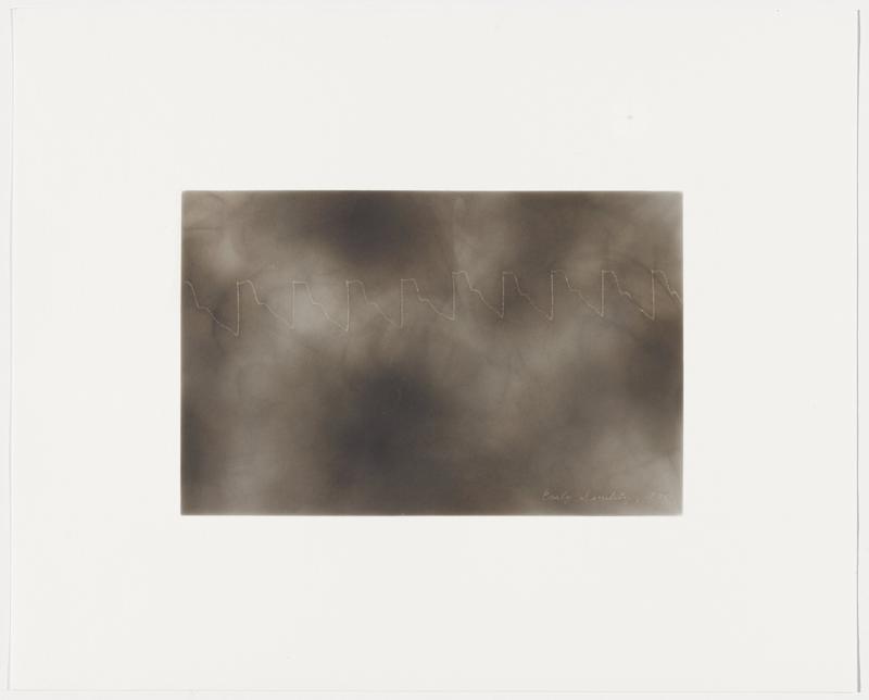 smokey grey ground; white zigzag line with flat peaks