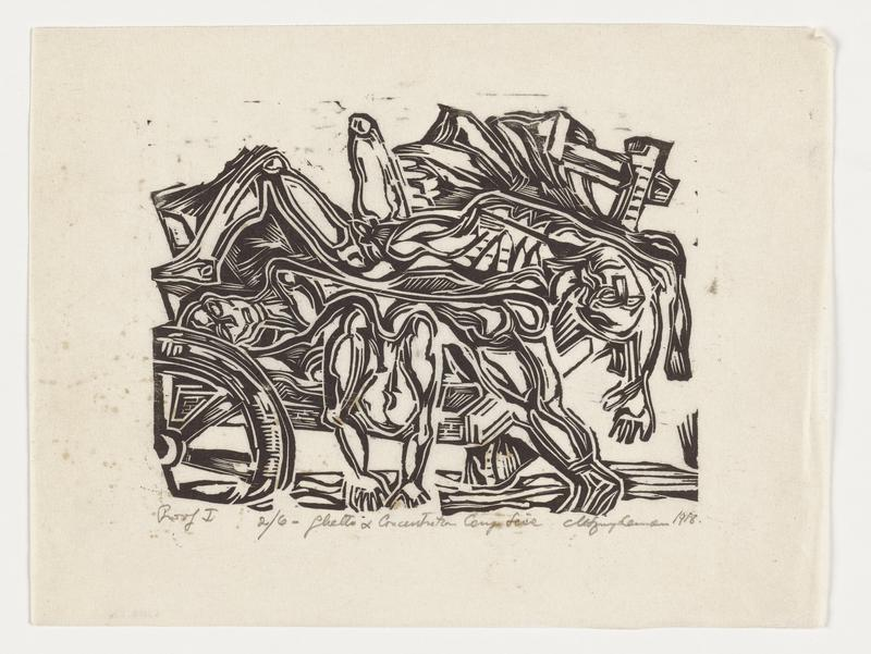 woodcut; black pigment on white paper; image of three emaciated figures piled onto a cart, rendered in thick, blocky linear patterns; figure on right draped over edge of cart, arms extended overhead, legs splayed in ULQ, facing upwards; center figure bend forward over cart, facing inwards; third figure in center left facing upwards, body obscured by other figures; cart wheel in LLQ
