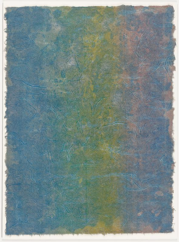 abstract image in cool-toned pigments, with natural paper fibers woven throughout, creating a linear veining pattern; mauve vertical section on right, green washy center and indigo washy pigment, all with a drippy, blue over wash; paper has an organic, uneven fringed effect around the edges