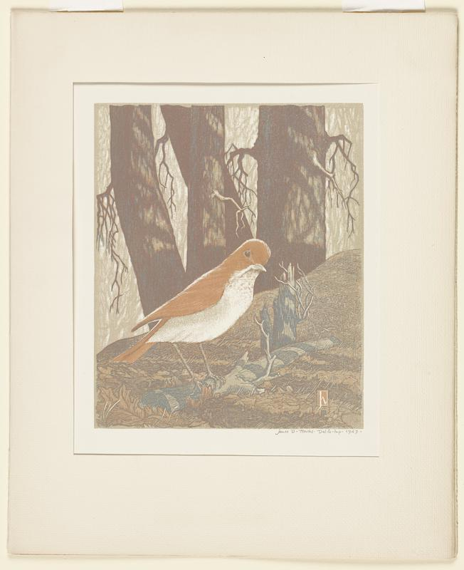 image of a wooded scene with a bird with a white breast and orange backside perched on a small stick, which sits in the foreground; shaded trees in background; small symbol in LRC in the shape of a rectangle with a stylized lowercase letter 'h' inside; print is mounted at URC and ULC, and encased in a portfolio, which hinges and opens to reveal title text from the Woodcut Society of New York