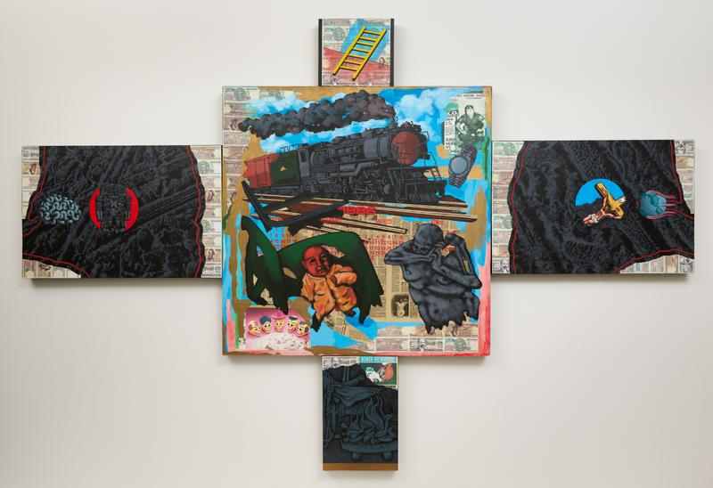 five panels installed in cross shape; collaged elements with paper money and newspaper clippings throughout; a (center panel): train at top center; Day of the Dead skulls and baby in LLC; b (top panel): yellow ladder; c (right panel): Jesus on cross with insects; eyeball in the form of Earth; d (bottom center panel): bound feet by fire painted in black and white; e (right panel): elaborate totem sculpture against red ground
