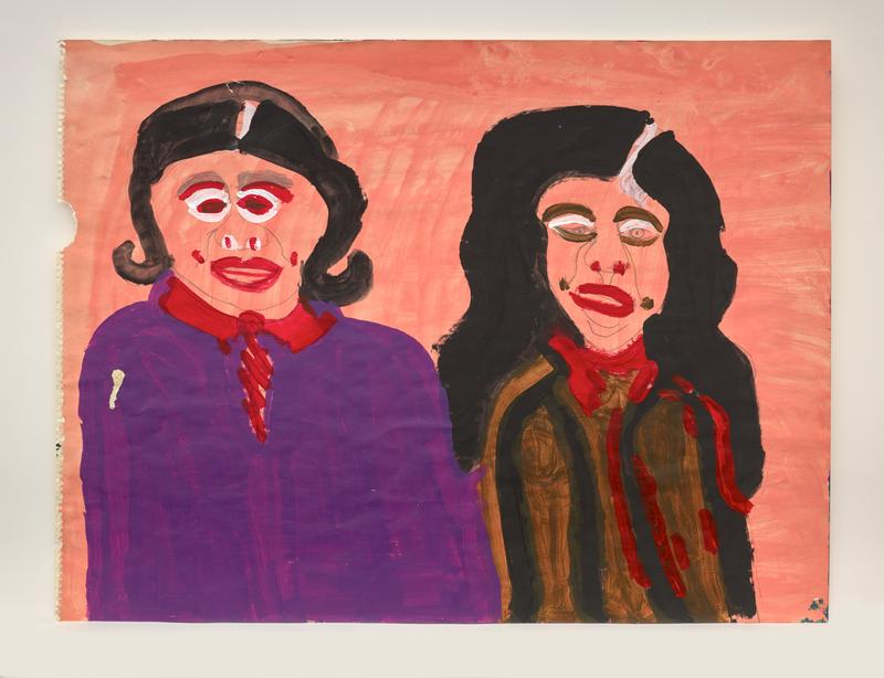 painting on paper torn from spiral notebook on left edge; portrait of two women, each with long black hair; woman on left wears purple blouse with red collar; woman on right wears brown, black, and red irregularly striped blouse; pink ground; bold red, brown, and white facial features