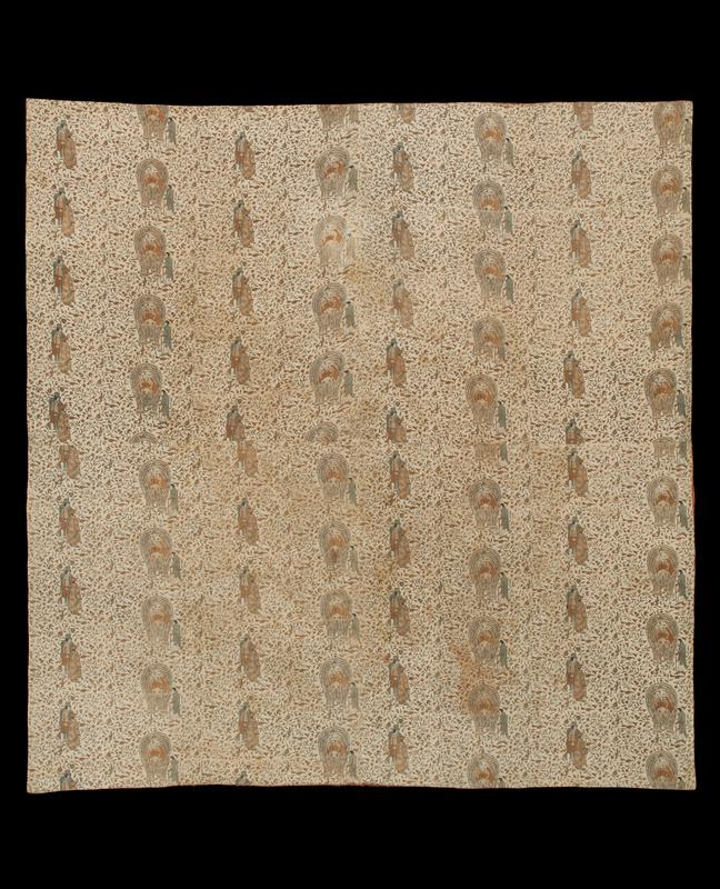 large cloth; pattern of standing figures and figures riding elephants, over a floral background; red wool backing