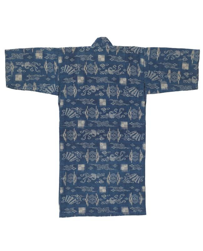 small blue robe with off-white pattern consisting of flowers, fans, and birds throughout; off white, interior lining below collar and at back center