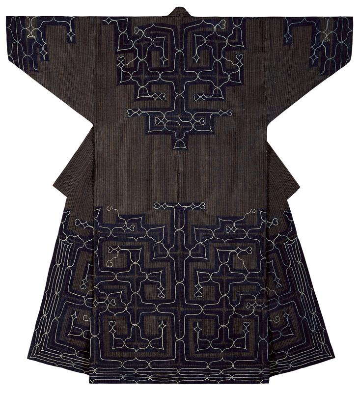 navy and brown striped robe with navy blue applique trim on sleeve cuffs, bottom half of body, yoke, and back center, all with lighter blue, curving embroidery patterns, including some small heart shapes along lower section; solid blue interior lining
