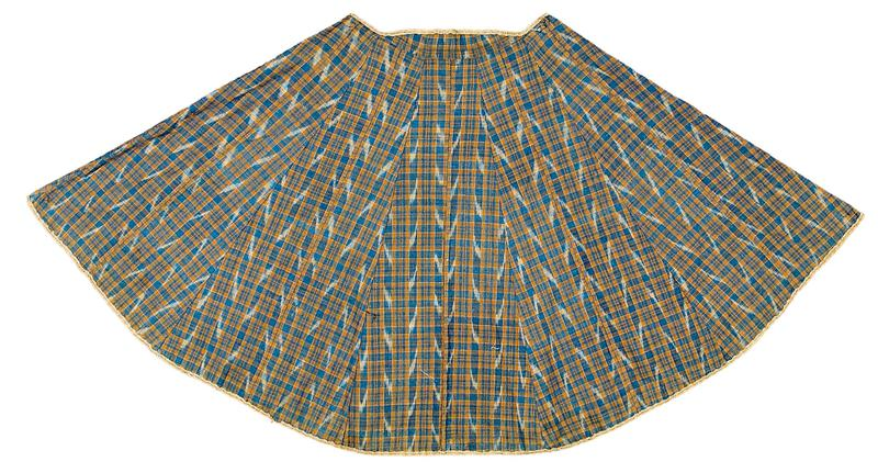 navy blue cape with light blue and beige vertical stripes and organic beige pattern on outer side; blue and tan plaid lining with diagonal white marks overtop; 2 brown C-shaped hooks attached by navy rope on collar at PL front and PL side, with corresponding loops on collar at PR front and PR side; two rope loops at PR hip and PL front center; beige border with line of openings