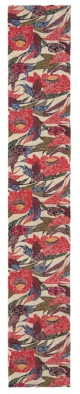 rectangular fragment of floral patterned fabric; red and purple flowers with green, blue, black and yellow leaves and vines; bottom section of pair