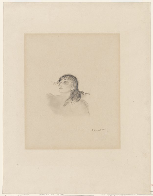 study of reclining female figure, eyes partially closed, depicting head and sholders only