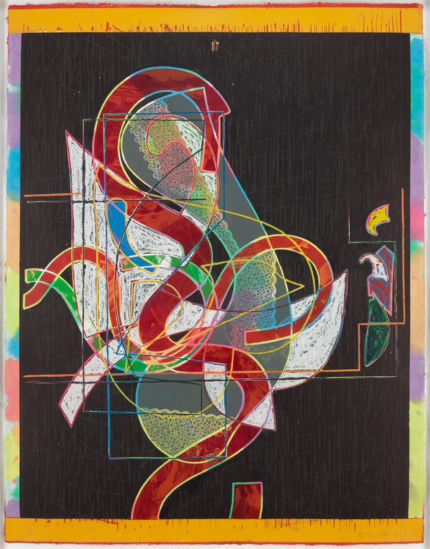 abstract image; black ground; wide red curving lines bordered in multicolored lines; lacy elements around curves; forms filled with white chalk-like coloring; multicolored lines over curving forms; top and bottom borders are yellow and red; left and right borders are mottled multicolors
