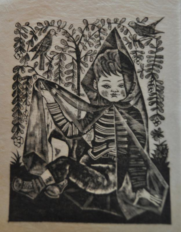 seated figure of a child with short hair, wearing a striped long-sleeved shirt and dark pants, lace up boots with socks folded over top; wears a transparent hooded sheet or cloak with a hood, PL arm raised; tree with draping branches and small oval leaves behind figure; two birds on top right and top left in tree branches