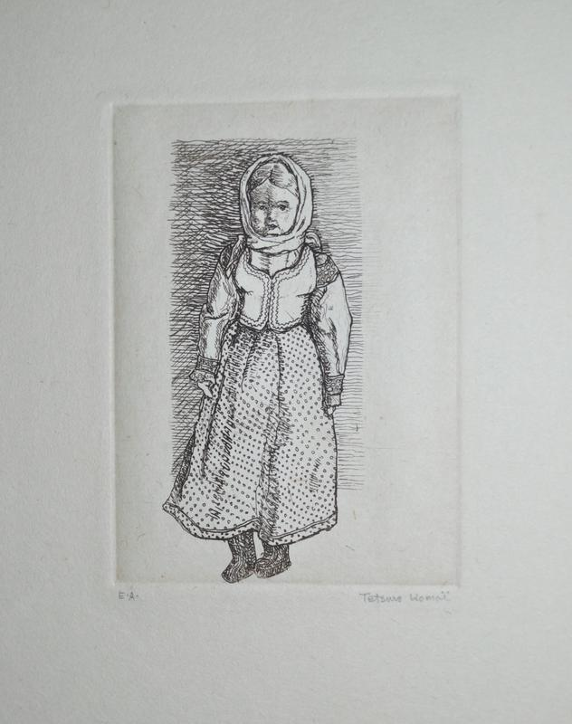 standing female doll in European dress with headscarf; printed in brown