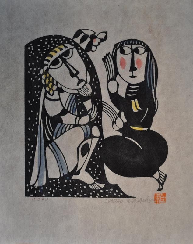 girl at left holding hand to her ear; frowining figure at left against dark ground with white spots