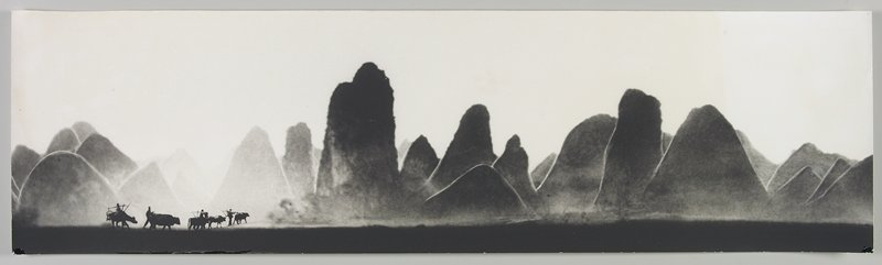 4 figures and 5 oxen at LLC; large wedge and triangular-shaped land forms throughout; Li River, Peoples Republic of China