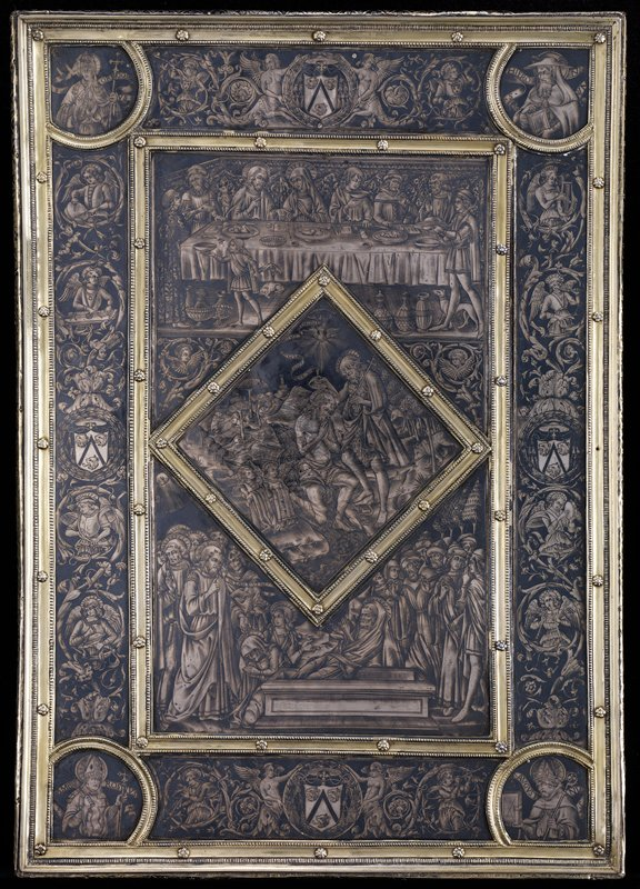 in silver frame; central section the Marriage at Cana; below the Raising of Lazarus; the lozenge the Baptism of Christ; the borders are filled with foliage and representations of angel musicians; the coat of arms of Cardinal Balue, for whom the book cover was made, appear at the mid points