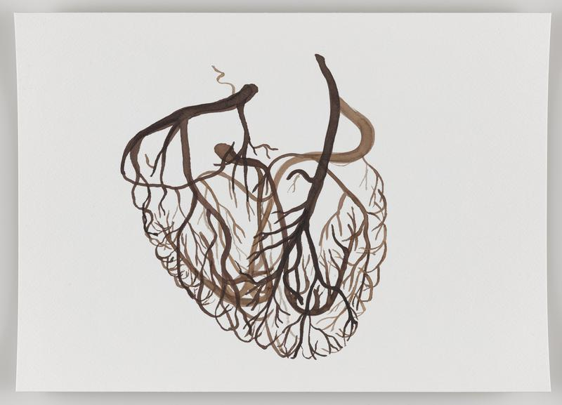 brown thick and thin branching lines in the form of a human heart