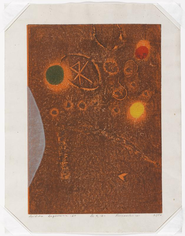 abstract; orange ground; green, red, yellow circles; scratchy circles, star; grey arced form at left