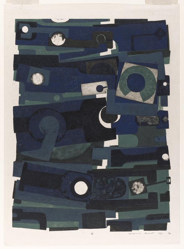 large rectangular abstract form made up by various shapes and colors; colors conist of dark blue, teal, black, and uninked area;