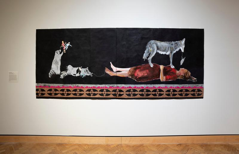 "a: black ground two raccoons, one stands on his hind legs and holds to small doll figures and one lies on its back wearing jewelry and holding a pair of dead birds that have a tag with ""Good Intentions"" hanging on them; applique along bottom in copper, white and magenta pink b: black ground; female figure lying on her back wearing a red dress with a grey coyote standing on top of her with a bird on a string dangling from its mouth; applique along bottom in copper, white and magenta pink"