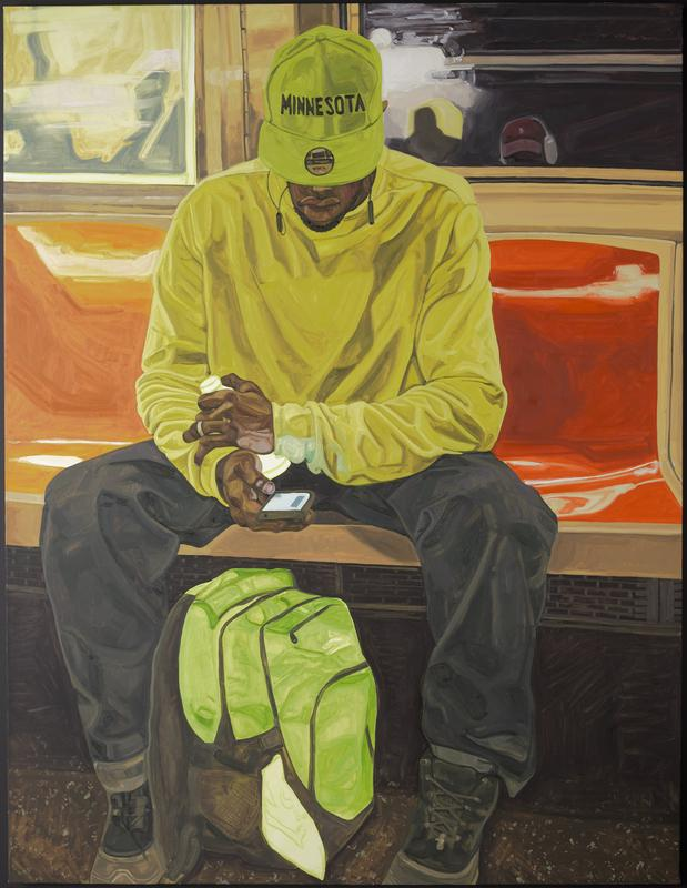 """image of a Black man seated on orange plastic bench on a bus or train with his elbows on his thighs, looking at his cellphone; man wars bright yellow long-sleeved shirt, grey pants, boots and fluorescent green cap with """"MINNESOTA"""" in black across front; fluorescent green and grey backpack between man's feet; painterly style; metal stretcher; received unframed"""