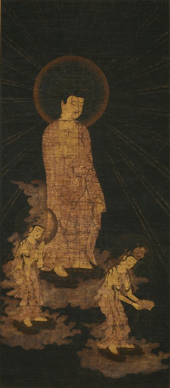 the Buddhist art of the Kamakura period in Japan (1185-1392) is one of the great religious arts and this thirteenth century painting on silk mounted as a hanging scroll is an elegant and fine example; the Descent of Amida (raigo) is represented; Amida Buddha is one of the leading gods of Buddhism whose cult enjoyed great power from the ninth century; he is usually shown, as here, descending to receive the adorer's soul, for he promises blissful and luxurious life in the next world; in the Mann painting he is accompanied by two divine attendants, the Bodhisattvas Sishi, shown adoring, and Kannon, shown with the Lotus Pedestal; similar but rather inferior figures to these appear in a celebrated early thirteenth century hanging scroll in the Senrin-ji, Kyoto; the Mann scroll is especially splendid not only for the refinement of its draughtsmanship, but for its color; on a muted black background, the figures are gold, the red lines of form being incisions through the gold leaf to the red ground; a light raw ochre halo surrounds Amida's head, the clouds are pale lavender; the use of color is thus austerely restricted, and there are only a few other touches Amida's lips are scarlet, there are pink and white ribbands and some of the precious stones of the jewelry are picked out in dull tints; the richness of the gold, especially against the black, makes for a stunning effect, and the precision of the tense, flowing drawing, incomparably skillful and delicate, can be contemplated with endless pleasure