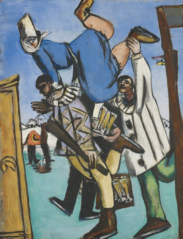 German Expressionism. The picture encloses four figures in a tight, absurd configuration defined by a picture frame and a door frame. Two men dressed as harlequins raise a daringly balanced woman muffled up in winter attire. A waiter in tails with a tray full of champagne glasses slides between the figures. In the background is a broad sky, low-lying snow covered mountains, and two figures in a horse costume.