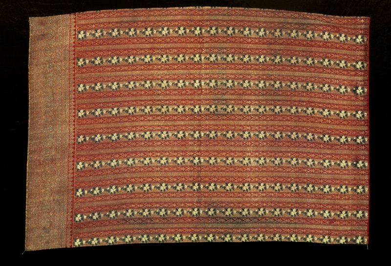 Small panel of gold, green and red striped brocade called Kincob meaning cloth with gold.