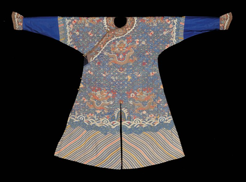 Dragon robe of K'ossu weave with blue and gold and silver thread. Made for a member of the Imperial Family.