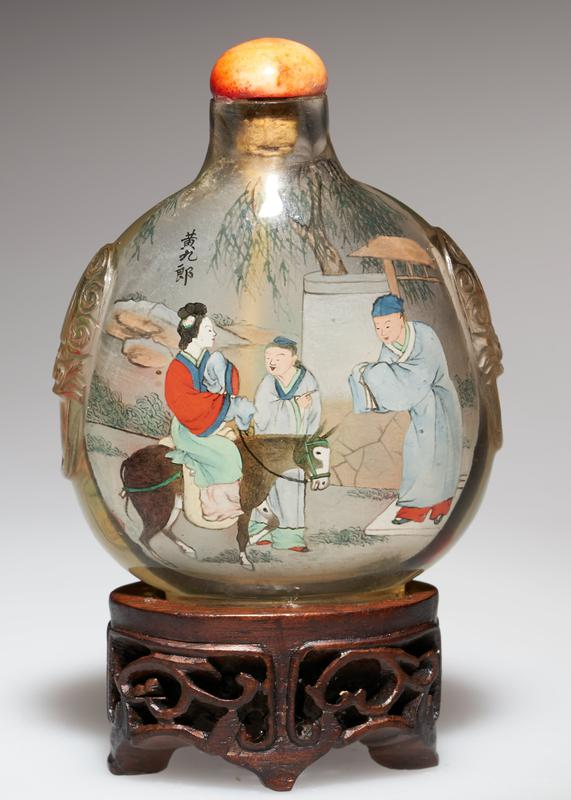 snuff bottle; crystal with coral top; carved with hand-painted scenes; signed and sealed