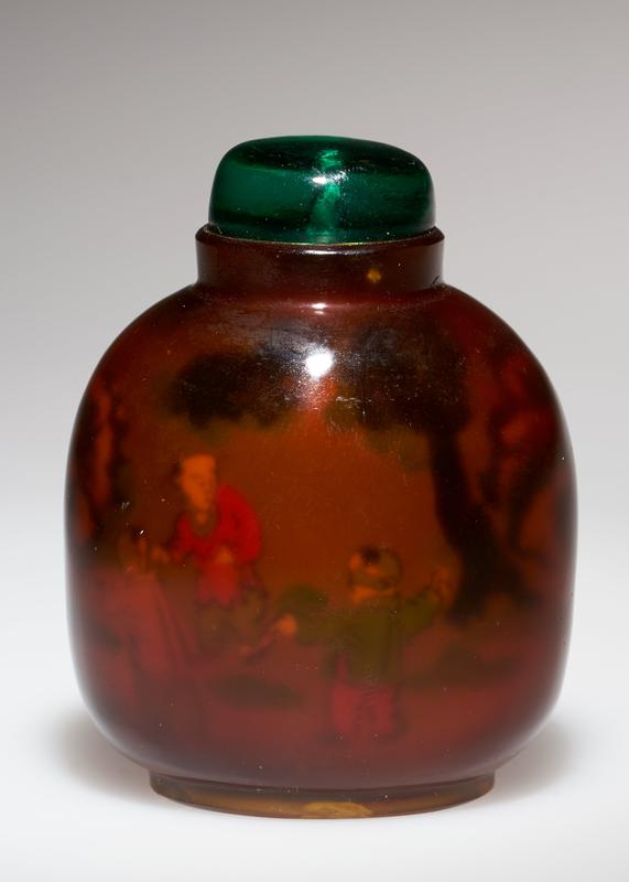 amber colored glass; glass top; shadow painting inside