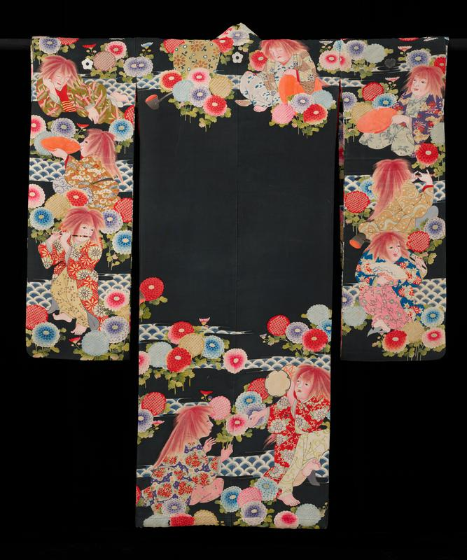 Kimono, no dance, fox girl; heavy black silk with bright flower and figure designs. Lined with scarlet silk.