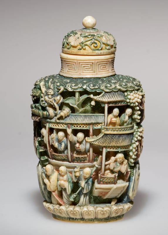 snuff bottle, carved; eighteen figures, representing the Immortals; note the carving on the shoulder, top and base; very fine piece