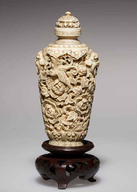 ivory, colored, carved; the peony, the pheasant, the bats, are symbols of good fortune, love, affection, happiness, especially fitting for presentation pieces; note the fine quality of carving