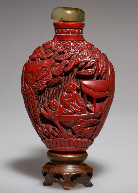 cinnabar lacquer, carved; jade top