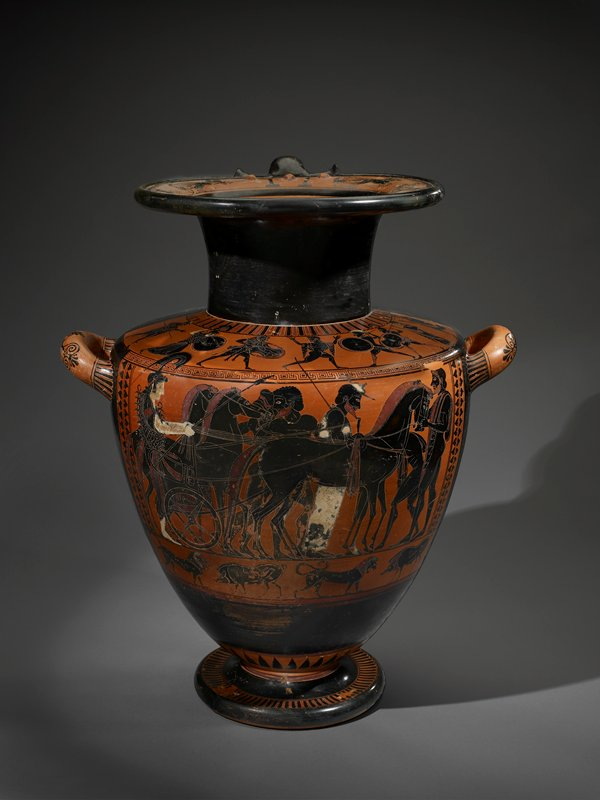 Attic; black-figured hydria (three-handled water jar) in the main scene the goddess Athena, painted white, harnesses her four-horse chariot; the scene on the shoulder depicts the divine battle between Heracles and Cynus, with Zeus intervening