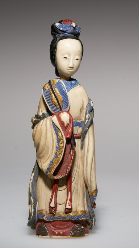 carved figure of a princess with fan; colored with lacquer