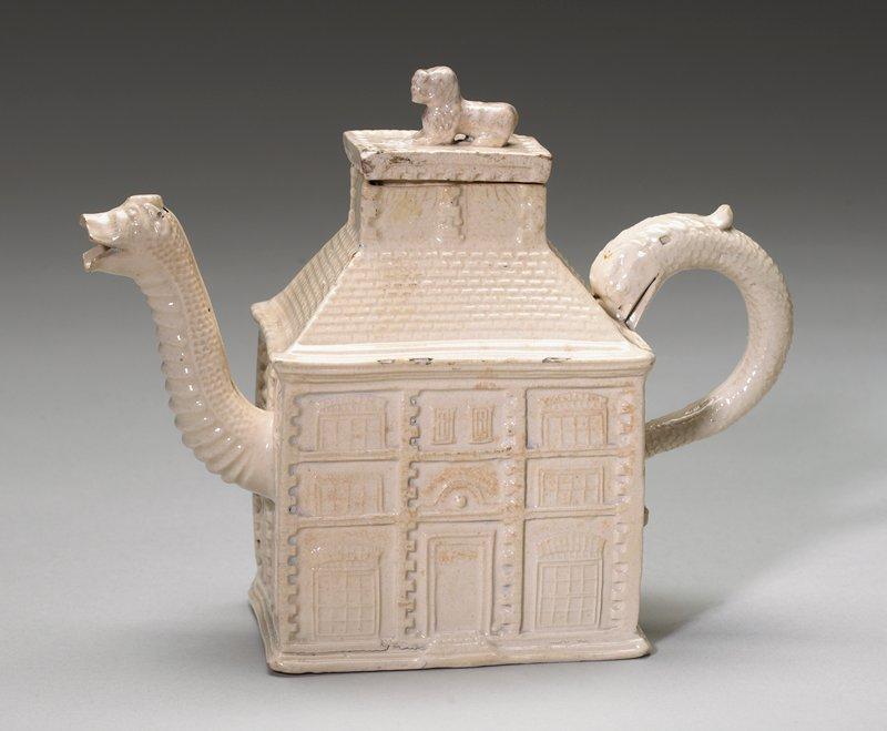 "Creamware ""house"" teapot"