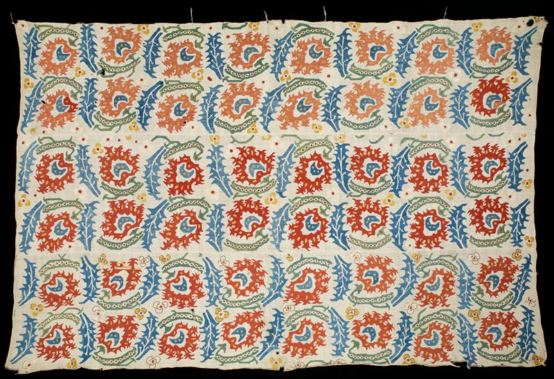 Bed spread, linen, embroidered in rose spray pattern in five colors, blue and henna red predominating. Composed of three narrow strips whipped together.