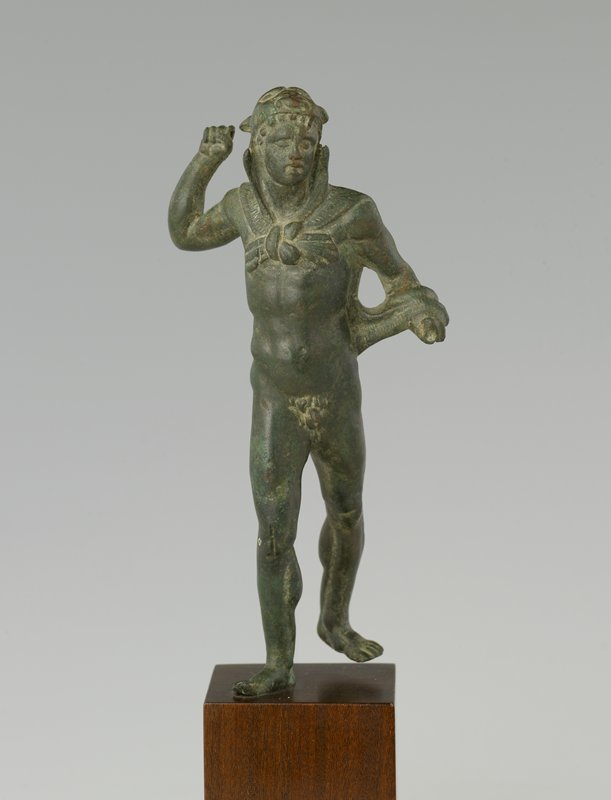 Hellenized young Hercules; lion skin over head and shoulders, tied in front across chest
