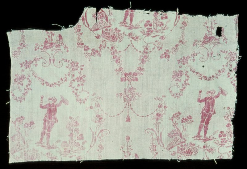 Linen, fragment, monochrome block print of The Little Drinker design. The dotted ground and pattern of arabesques are typical of the first Jouy toiles under Oerkampf. An irregular piece, torn at top.
