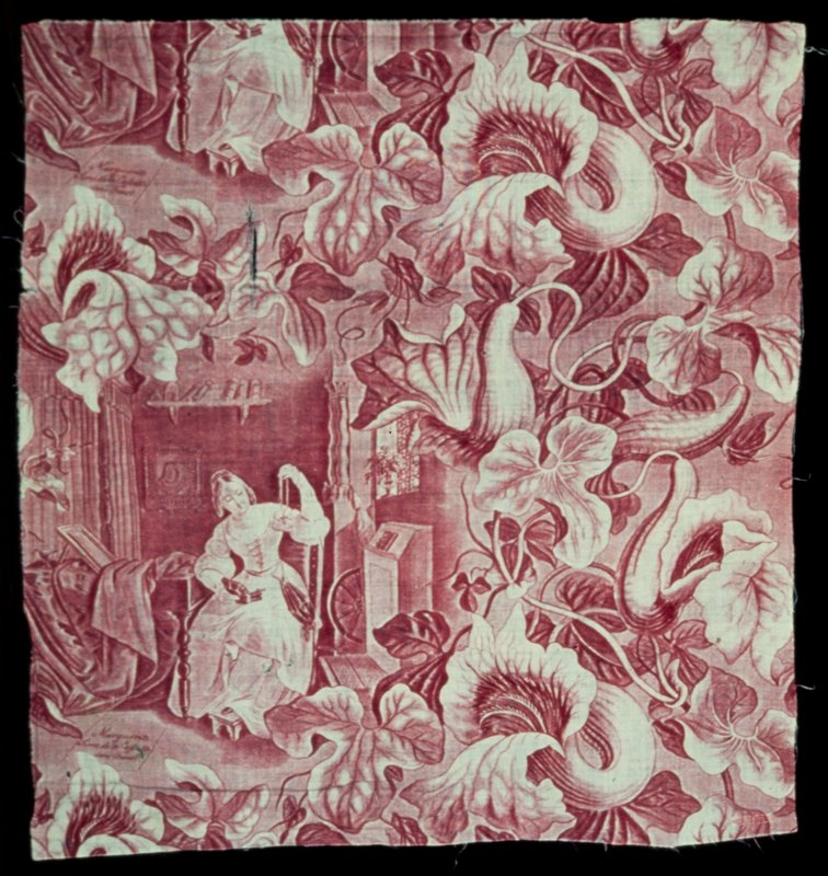 Toile, fragment, printed in rose with repeats of Marguerite in the jewel scene from Faust, and extremely large floral spray. Piece torn and split.
