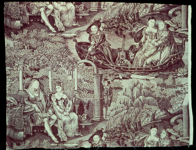 Toile, large fragment, printed in rust with two scenes from married life.
