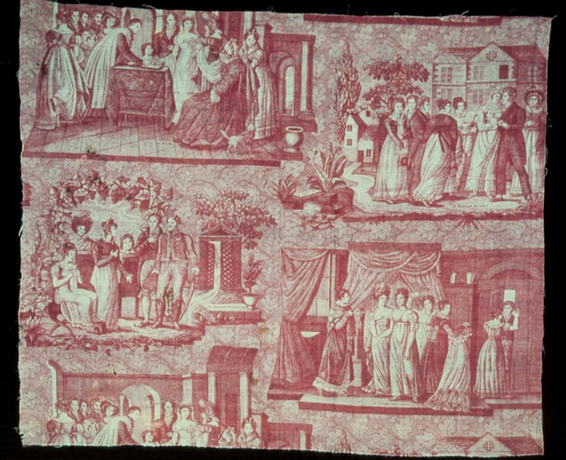 Toile, width of, printed in rose, with four scenes of a wedding.