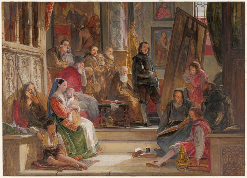 many figures in chuch watching a painter paint a woman holding a child
