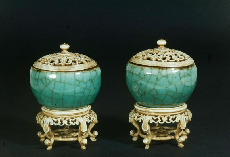 Bowls, pair, Crackle Song green, pierced ivory covers and stands