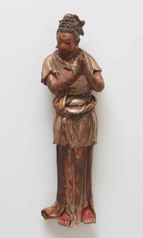 Figure, Bodhisattva with hands together, with stand.