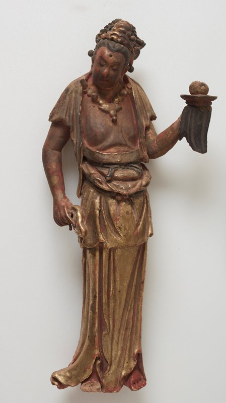 Boddhisatva, left arm rised, holding dish with hanging drapery, with stand; wood.