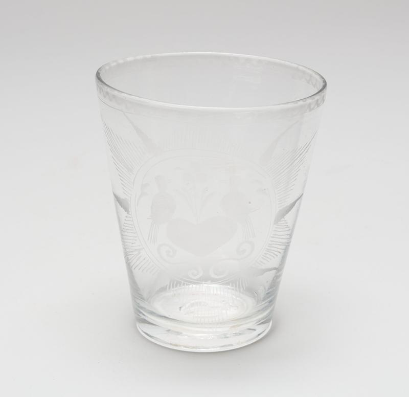 water glass, etched glass