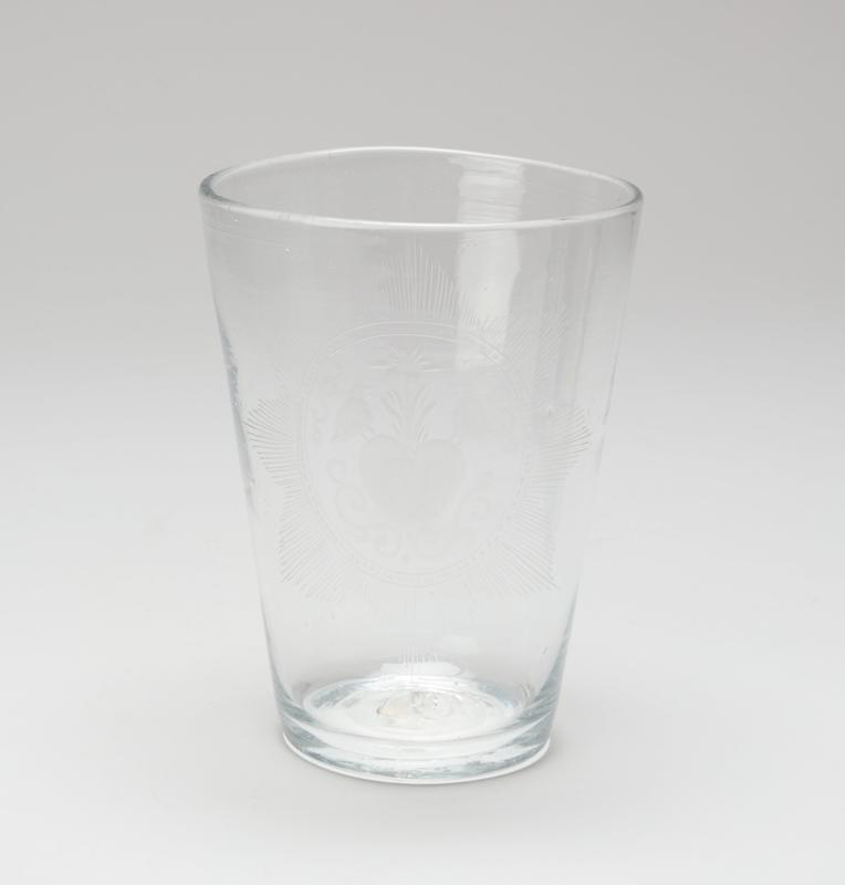 water glass, etched